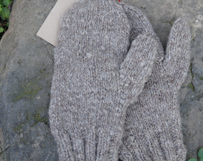 Wool hand knit mens mittens from our USA farm yarn
