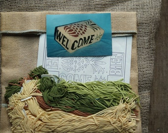 Rug hooking kit: Pineapple design welcome brick cover kit on burlap with wool strips free shipping