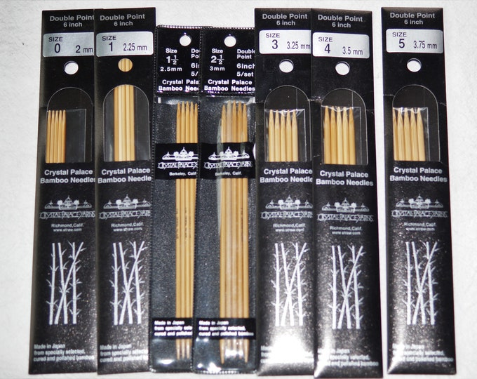 Crystal Palace Bamboo 6 inch double point knitting needles close out sale, free shipping offer