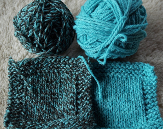 Aqua Ragg and bright aqua worsted 3 ply soft wool USA farm yarn free shipping offer