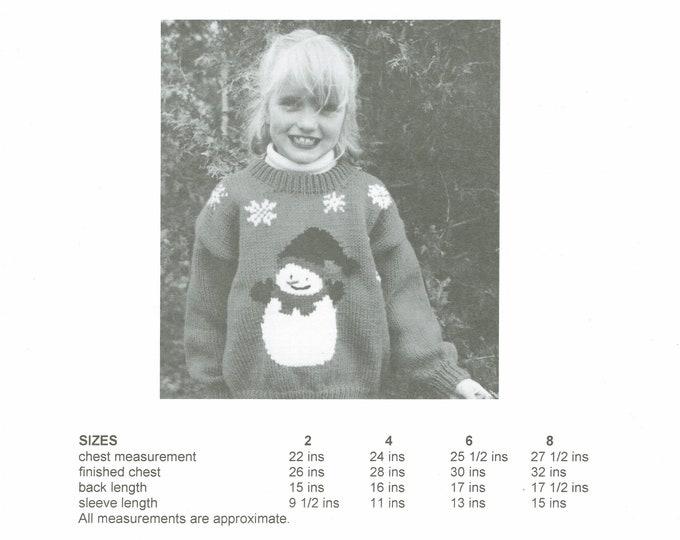 Snowman child's sweater knitting pattern worsted weight yarn