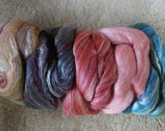 Silk and merino wool roving variety pack of five colors