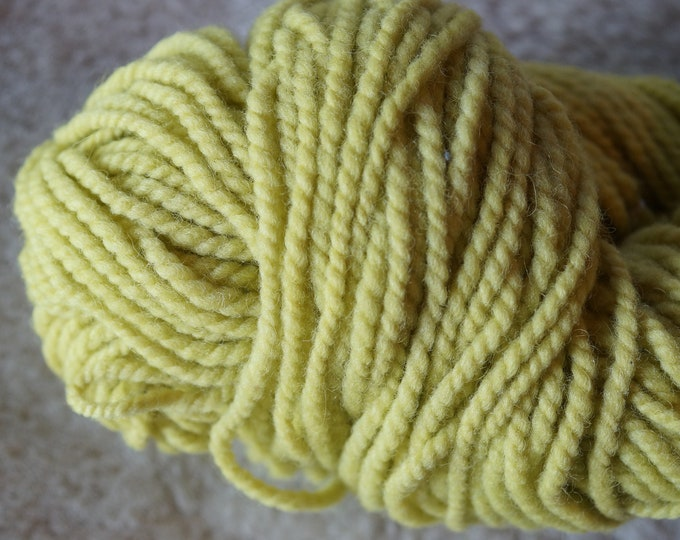 Bright Yellow bulky 2 ply wool yarn from our American farm, free shipping offer
