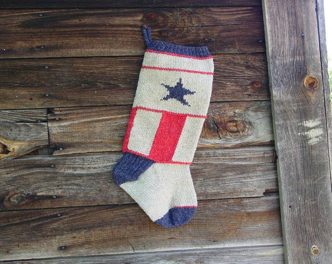 Kat's Patterns Americana Christmas Stocking Knitting Pattern for worsted weight yarn digital
