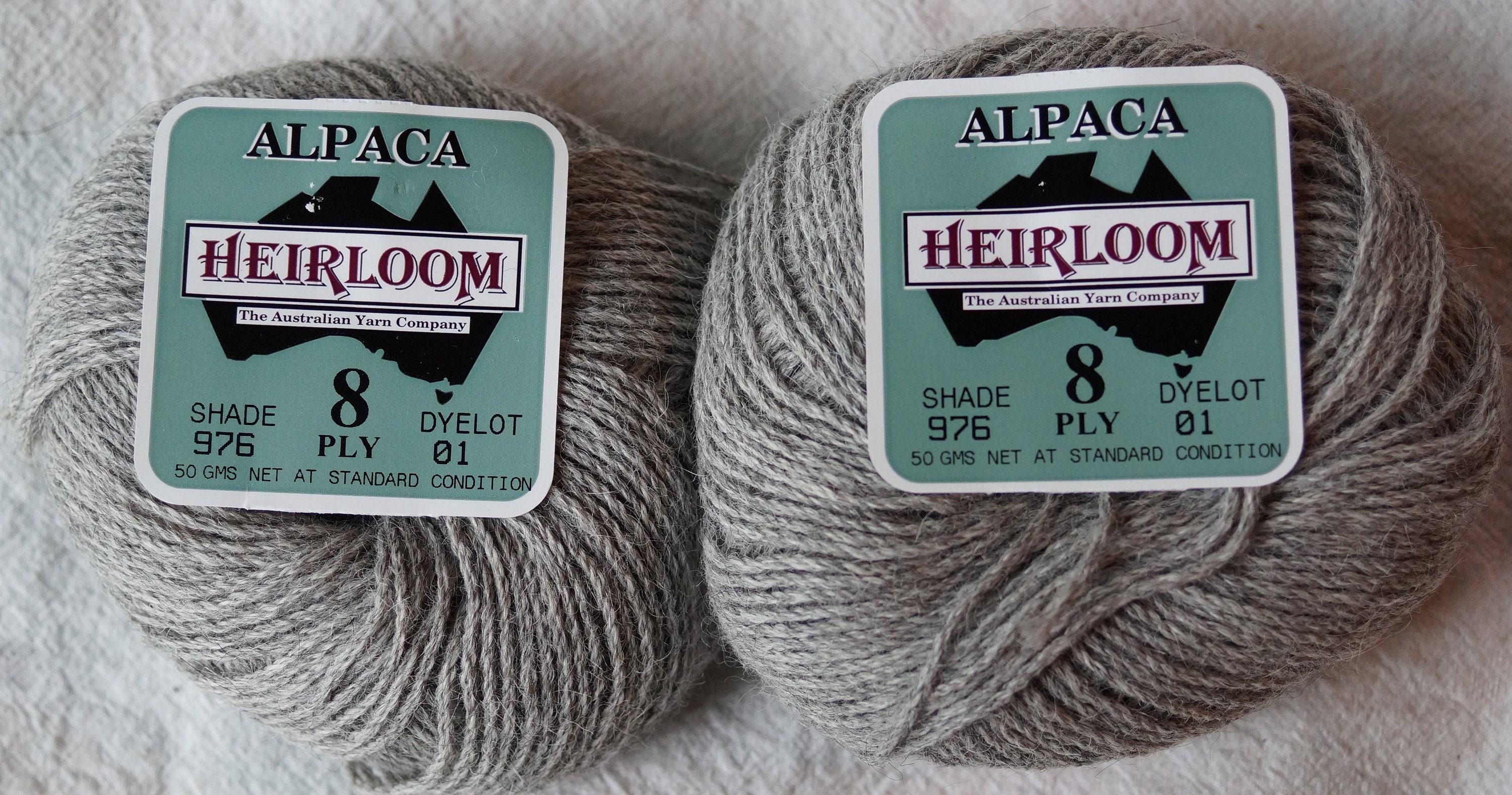 Alpaca yarn, 8 ply worsted weight choose white or gray, 100 percent