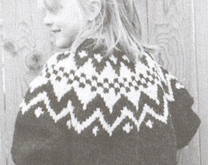 eweCanknit pattern 067: Geometric Fairisle child's pullover sizes 2-8 uses chunky weight yarn