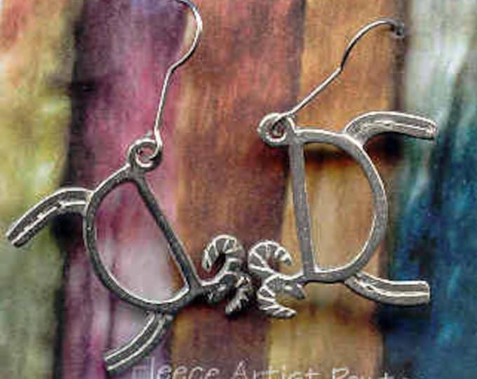 Earrings: Petroglyph Sheep pewter wire drop earrings