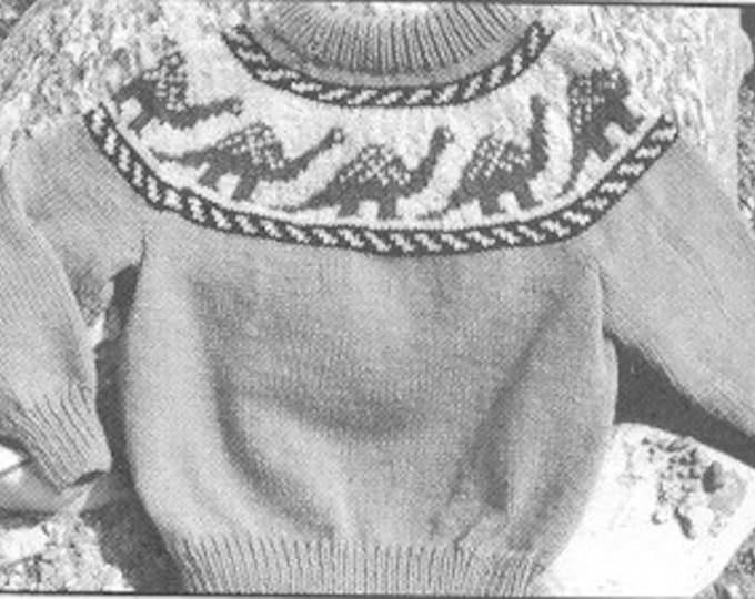 eweCanknit 015 034: Dinosaur Fairisle sweater  knitting pattern for kids sizes 2-6 and youth sizes 8-12 uses worsted weight yarn