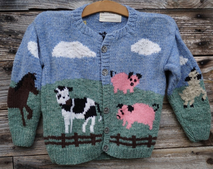 childs barnyard hand knit wool cardigan with pewter buttons hand knit made in the USA of American wool free shipping