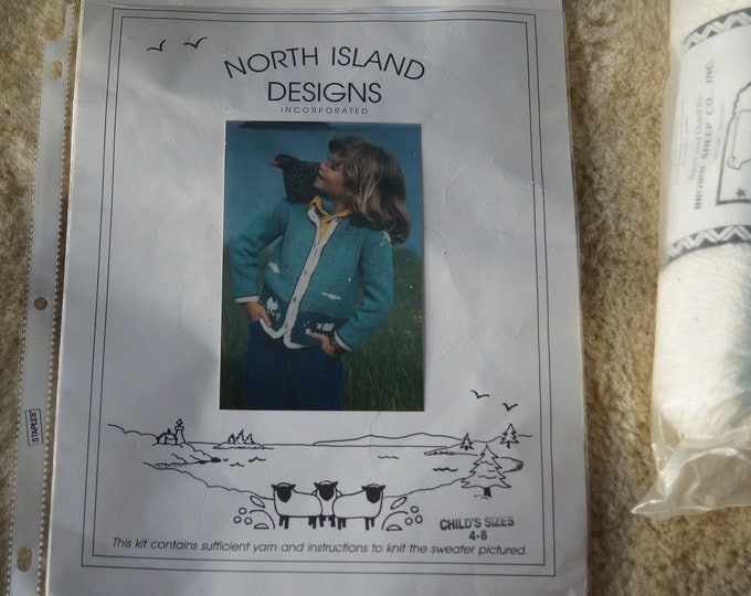 Kids Country Scenic Cardigan kit all yarn and buttons included free shipping made in the USA