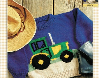 Bernat Pattern: The Tractor family sizing knitting pattern for sweaters