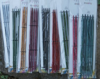 5 in DP Dreamz colored wood knitting needles sizes US 6 to 11, sale prices free shipping offer
