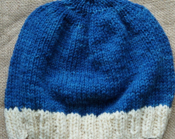 Wool hat shaded demim adult  hand knit from hand dyed wool  farm yarn on our USA farm