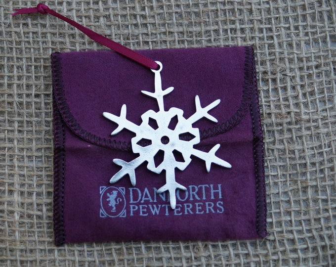Snowflake Ornament Danforth pewter for Christmas. Made in the USA