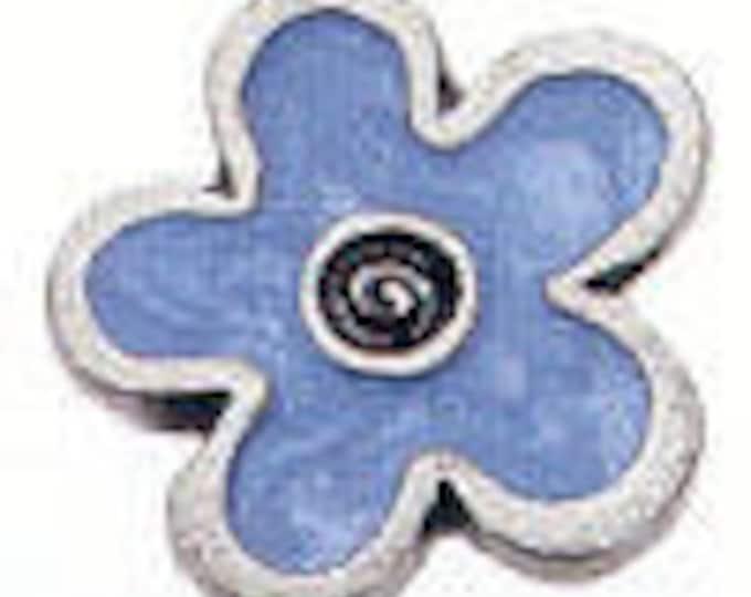 Danforth Button: BLUE FLOWER enamel pewter shank button