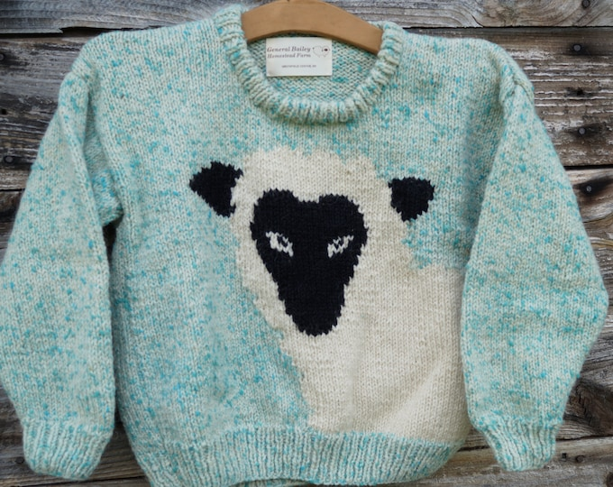 Sheep pullover childs handknit wool sweater, made in the USA