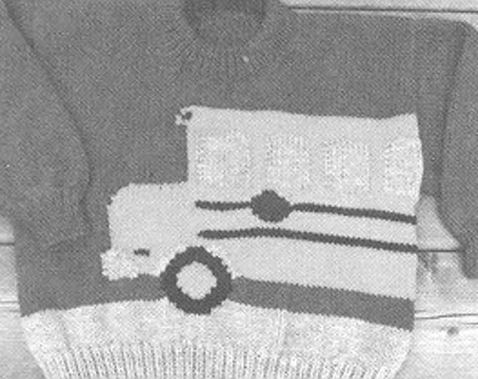 eweCanknit Pattern 127: The Schoolbus knitting pattern for child's worsted weight pullover