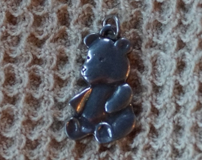 Teddy Bear Charm Danforth pewter, made in the USA