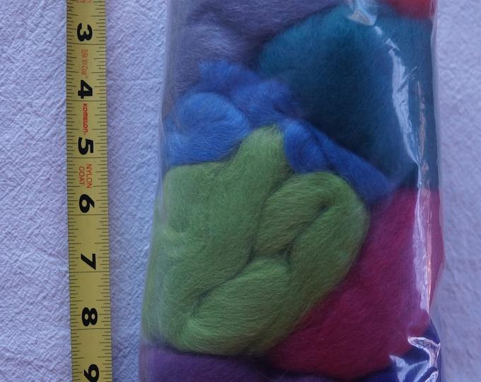 Corriedale wool roving from Ashford, multi color fiber packs for spinning or felting, free shipping offer