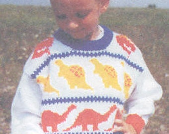 Dino Brites childs sizes 2-8 knitting pattern uses worsted weight yarn