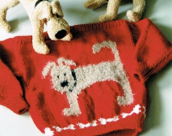 Country's Child Pattern 123 dog Funny Bones child's  boat neck pullover sweater knitting pattern
