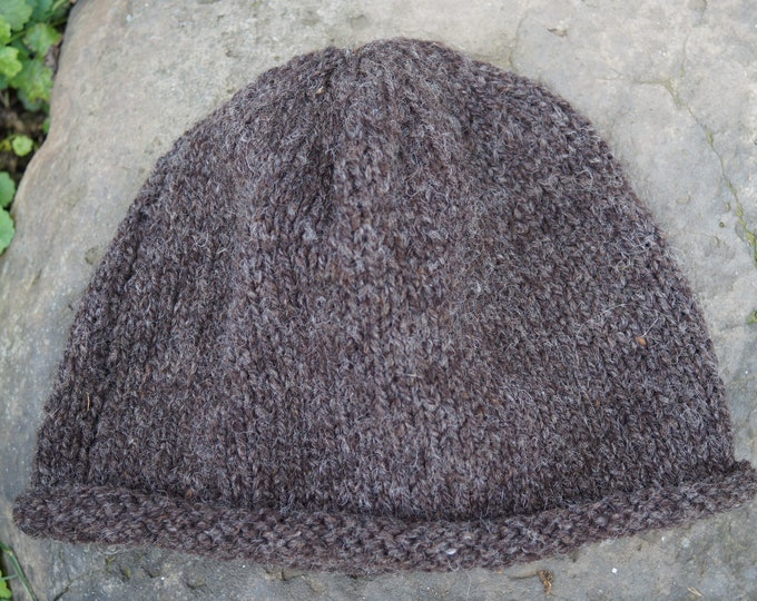 brown heather wool mountain hat hand knit roll brim wool large adult size