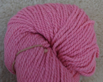 Light Rose 2 ply bulky wool hand dyed yarn from our American farm, free shipping offer