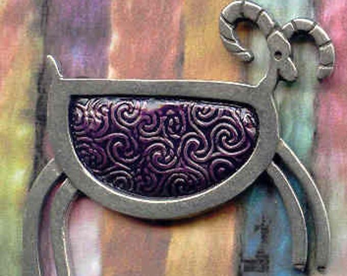 Brooch: Purple petroglyph pewter sheep brooch