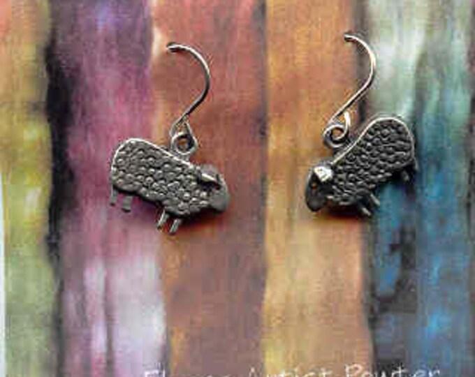 Earrings: Baa Baa wire pewter sheep earrings