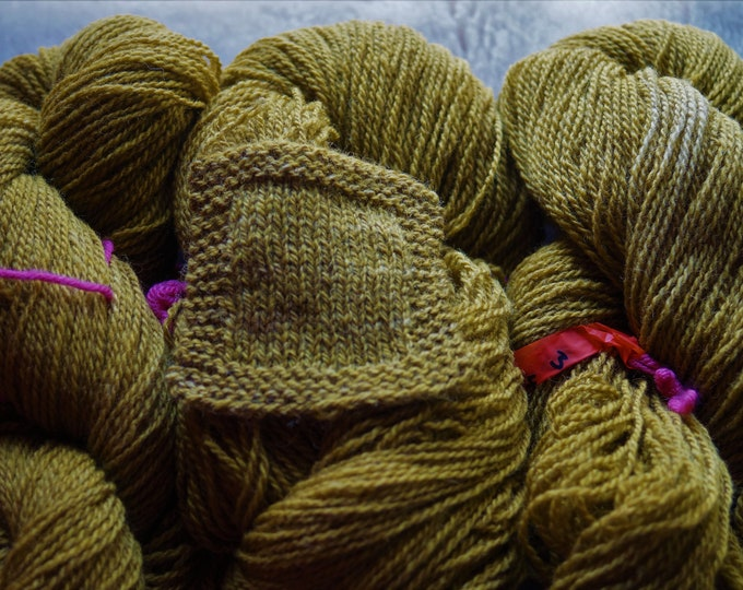 Brassy Green sport weight 2 ply kettle dyed wool from our American farm free shipping offer