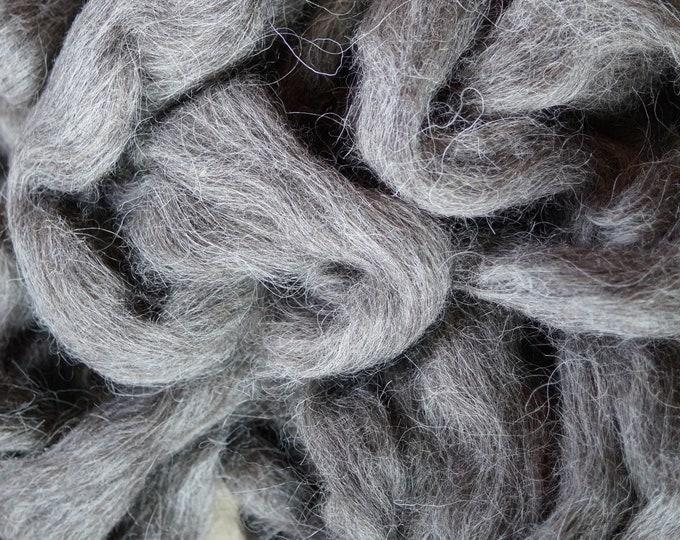 Black Norwegian wool top for spinning or felting, 8 oz bag, heritage breed