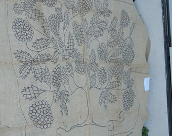 Hooked Rug stamped canvas: Shaker Tree stamped rug backing on burlap free shipping USA