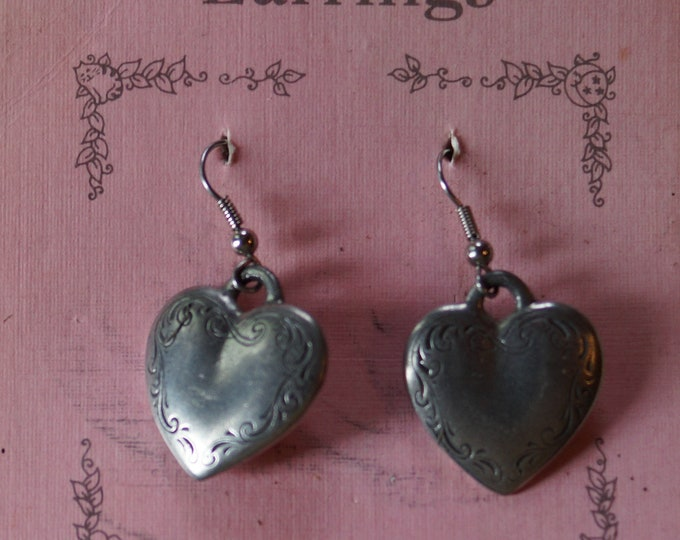 Danforth Victorian Heart dangle wire earrings, made in the USA