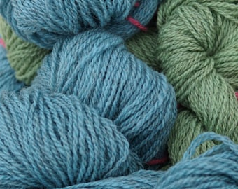 Soft green and blue bonnet blue sport weight wool hand dyed yarn from our USA farm, free shipping offer