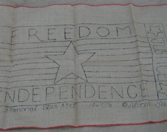Hooked Rug Stamped Backing: Memorial Star Mat 14 inches by 31 inches stamped on burlap