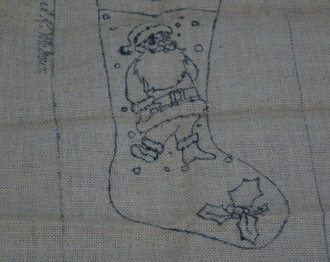 Hooked rug stamped canvas: Santa Stocking on burlap or monks cloth