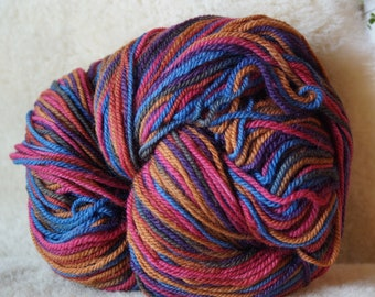 worsted weight yarn: Multicolor wool 2 ply worsted weight soft  wool yarn 594 yd skein