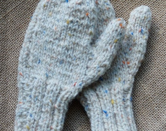 Ladies Large Vanilla Tweed wool hand knit mittens made in the USA