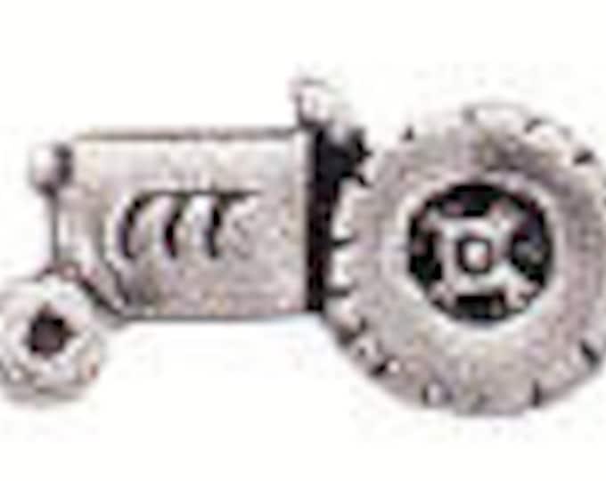 Danforth Button: TRACTOR  pewter shank button