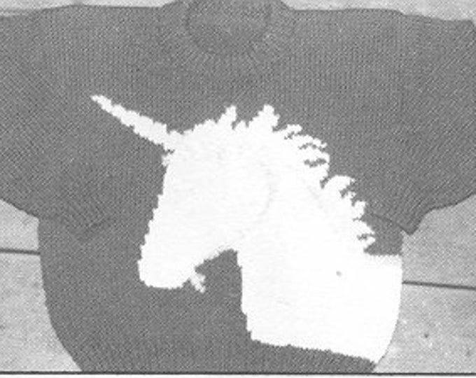 Unicorn knitting pattern for kids sizes 4-8 uses worsted weight yarn