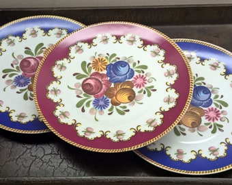 "Three (3) Tirschenreuth Bavaria Germany 9-1/2"" Floral Wall-Hanging Plates"