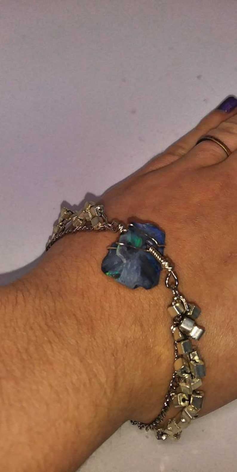 Fine Silver Plated Wire Wrapped Rough Lightning Ridge Opal Chunk Chain Beaded Bracelet