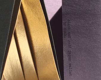 black and gold washable kraft paper wallet