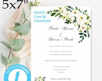 blush watercolor floral 5x7 wedding invitation 2 sided etsy