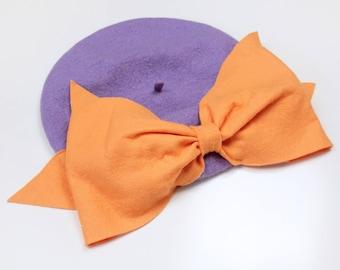 Bow Beret (Lilac & Peach)