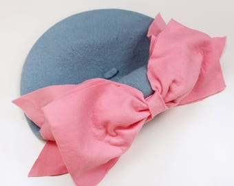 Bow Beret (Blue & Pink)