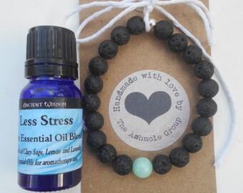 Handmade Lava Stone Bead Amazonite Essential Oil Diffuser Bracelet & 10ml Essential Oil of your choice