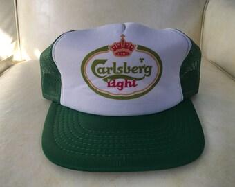 bc23c1778de Deadstock Vintage Carlsberg Light Beer Meshback Trucket Foam Snapback Hat