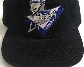 e8034ba19be939 Deadstock Vintage Tampa Bay Lightning NHL Hockey Full Corduroy Snapback Hat