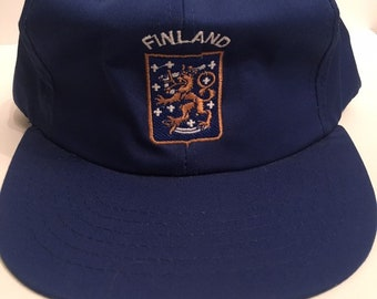 f88ae173721 Vintage Deadstock Team Finland Ice Hockey Canada Cup Blue Snapback Hat